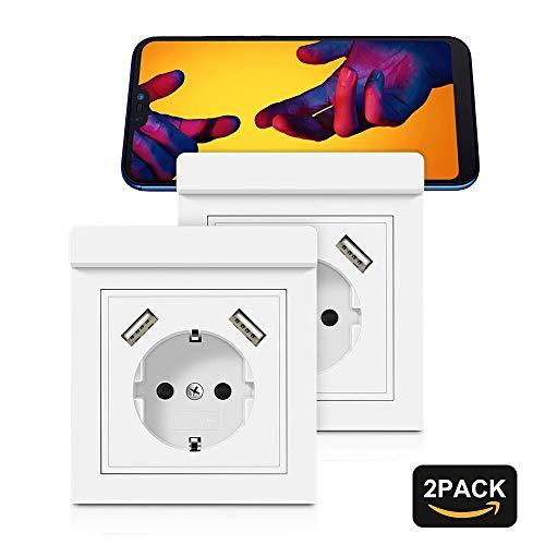 Steckdosen mit USB Anschluss 2.8A Schuko Unterputz USB Steckdose System 55X55 Weiß mit Handyhalter Schutzkontakt Wandsteckdose für Smartphone, iPhone, Tablet, MP3, etc. (2 Stück)