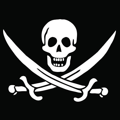 Auto Vynamics - PPFS-JR07-20-GWHI - Gloss White Vinyl 'Jolly Roger' Pirate Flag Symbol Decal - John 'Calico Jack' Rackham (Rackam / Rackum) Skull & Crossed Swords Design - Single Decal - (1) Piece Kit - 20-by-14.625-inches
