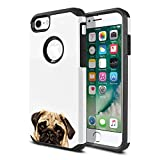FINCIBO Case Compatible with Apple iPhone 7 2016 / iPhone 8 2017 4.7 inch, Dual Layer Hard Back Hybrid Protector Case Cover Anti Shock TPU for iPhone 7/8 (NOT FIT 7 Plus, 8 Plus) - Pug Puppy Dog