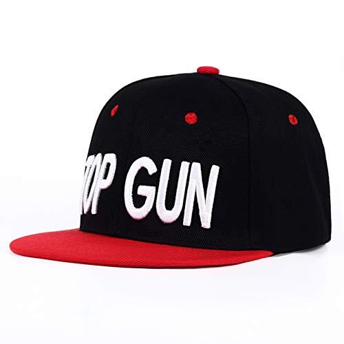 SALICEHB Neuer TOP Gun Hut Klassischer Snapback Hut für Männer Persönlichkeit Mode Baseball Cap Schwarz/Rot Workaholics Casual Gun Hip Hop Caps