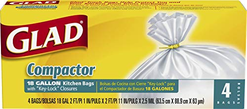 Glad Compactor Kitchen Trash Bags - 18 Gallon White Trash Bag - 4 count (Package May Vary)