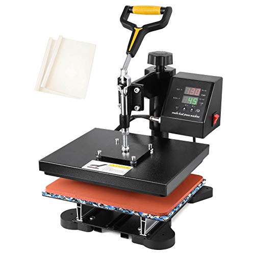 "Seeutek Heat Press 12"" X 10"" Professional Heat Transfer Digital Sublimation Machine 360 Degree Swing Away for T Shirts with Bonus 2 Teflon Sheet"