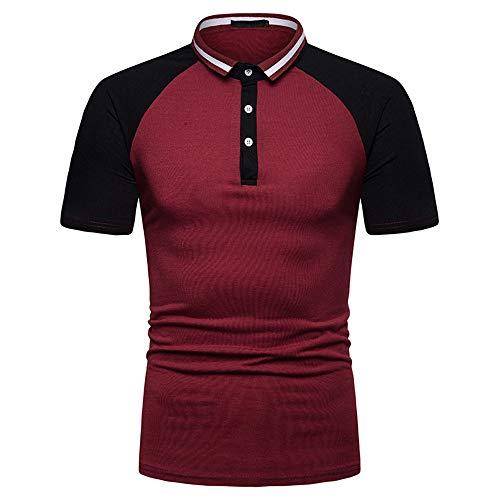 Generice Summer Herren-Poloshirt mit Raglanärmeln und Kragen, kurzärmelig Gr. L, weinrot