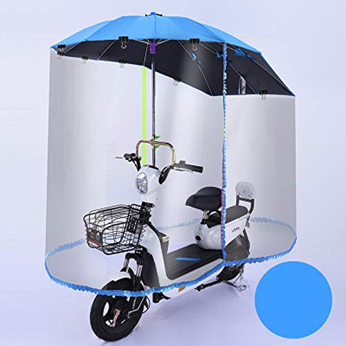 HHORD Elektroauto Motorrad Regenschirm Baldachin, Universal Auto Motor Roller Regenschirm Mobilität Sonnenschutz Regenschutz, Mit Vollständig Geschlossenen Regenvorhang,Blau,C