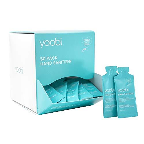 Yoobi | Hand Sanitizer Gel | Individually Wrapped Travel Packets | Box of 50