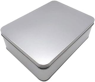 TOPBATHY 金属缶長方形ブリキ空のブリキの箱収納ケース容器ジュエリーピルティーレターパーティーフェイバリット(シルバー)