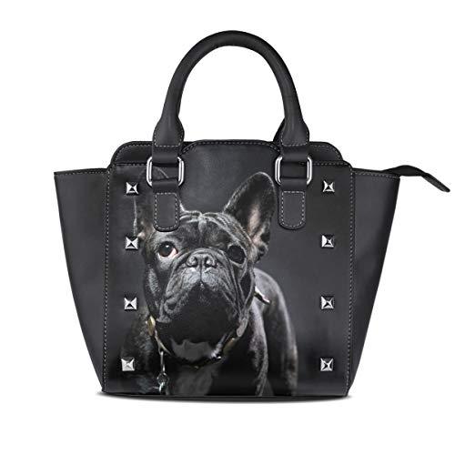 NaiiaN Für Frauen Mädchen Damen Student Umhängetaschen Einkaufstasche Leder Tier Französische Bulldogge Light Weight Strap Leuchtturm Handtaschen Geldbörse Einkaufen
