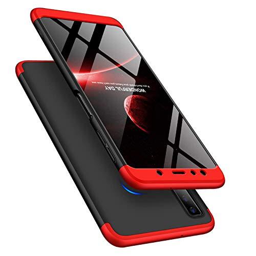 Capa Capinha Anti Impacto 360 Para Samsung Galaxy A7 2018 A750 - Case Acrílica Fosca Acabamento Macio Preto Com Vermelho