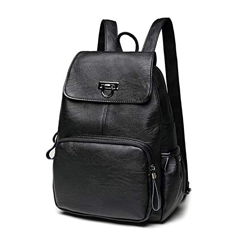 FANDARE Genuine Leather Backpack Women Fashion Daypack Ladies Waterproof Rucksack Bookbag for College Work Shopping Travel Knapsack Black