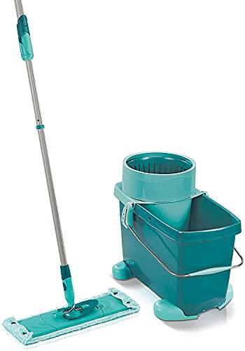 Mopa con cubo escurridor Clean, con base con ruedas, mopa plana con mecanismo de centrifugado, 42 cm de anchura