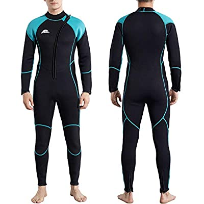 NeopSkin Diving Suit Men Women Youth 3mm Neoprene Wetsuit Warm Full Body Long Sleeve Wet Suits Front Zipper One Piece Swimsuit for Diving Snorkeling Swimming Surfing Canoeing