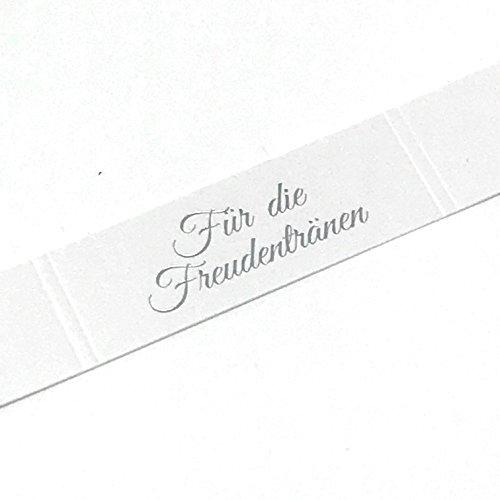 KATINGA Freudentränen Banderolen für die Hochzeit für Taschentücher (Silber geprägt) (50 Stück)