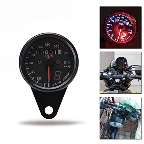 CYJX Speedometers Motorrad-Tacho Motorrad Kaffee Rennkilometerzähler Messgerät 0-160km / h mit LED-Anzeige Tachometer