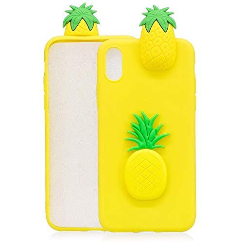 Huiran Coque Compatible pour Apple iPhone 6 / 6s Ananas Jaune TPU Silicone Fine Slim Bumper Etui Housse