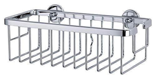 tesa ALUXX Duschkorb, Aluminium, verchromt, garantiert rostfrei, inkl. Klebelösung, tiefer Boden, 92mm x 250mm x 125mm