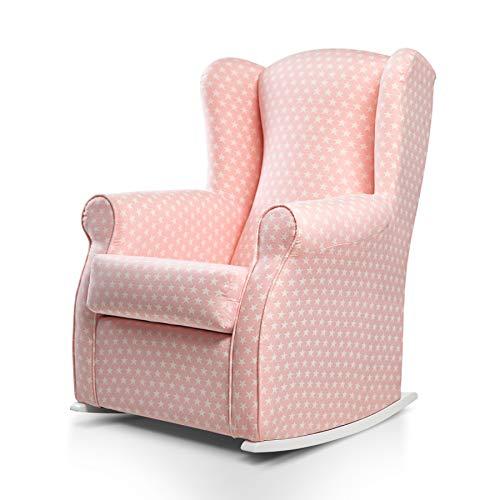 SUENOSZZZ-ESPECIALISTAS DEL DESCANSO Balancín Mecedora Olivia sillón para Lactancia tapizado en Estampado Rosa con Estrella Blanca