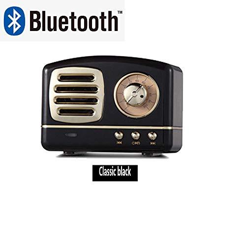 DXIA Retro Bluetooth Speaker, Draagbare Draadloze Bluetooth-Luidspreker, Mobiele Telefoon Bluetooth Speaker, Bluetooth 4.1 Vintage Draadloze Stereo Ondersteuning FM Radio TF Card (Zwart)