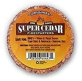 Super Cedar Firestarters - 36 pastillas encienden hasta 144 fuegos. Las pastillas queman limpiamente, Con alta temperatura y arden hasta 30 min., Sólo una cerilla para prender, Ecológicas.