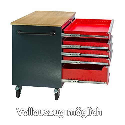 DEMA Mobile Werkbank rot/anthr. 5 Schubl. 1T. 120x60x93 - 4