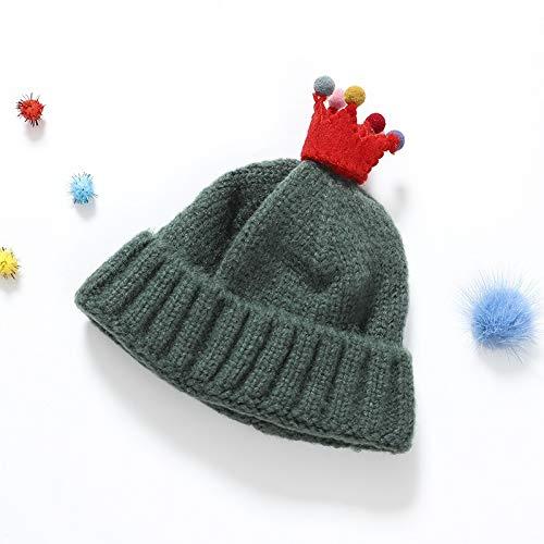 Kinderen herfst en winter muts Koreaanse mannen en vrouwen kindje mohair coltrui kroon kind warme muts snoep-gekleurde muts (Color : Green)
