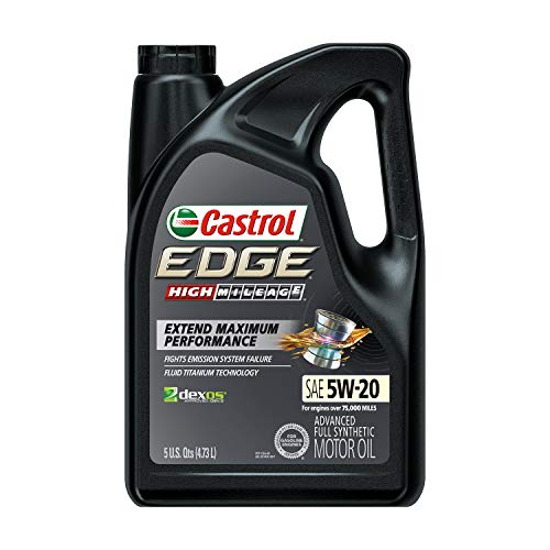 Castrol 03143C Edge High Mileage 5W-20 Advanced Full Synthetic Motor Oil, 5 Quart