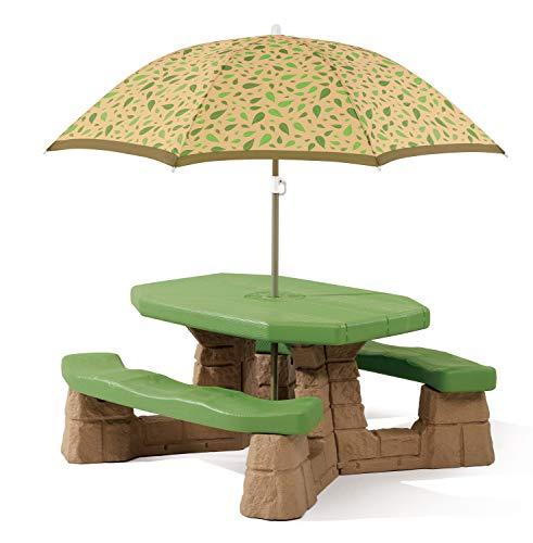 Step2 Naturally Playful Picknicktisch mit Sonnenschirm | Picknickbank für Kinder aus Kunststoff
