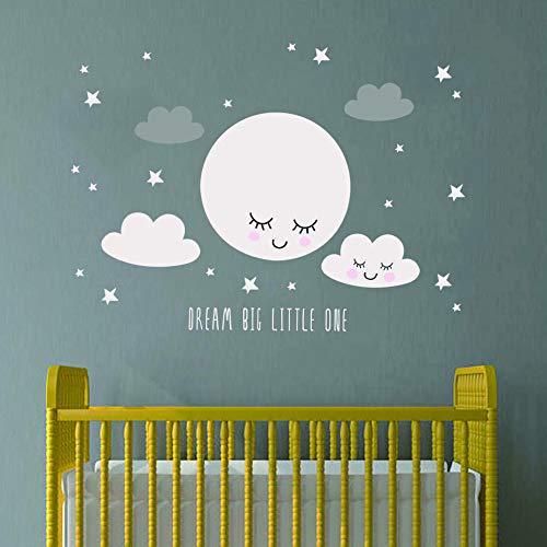 Sorridente luna stelle scuola materna wall sticker nuvola per bambini ragazza ragazza baby room camera da letto arte murale casa murale carta da parati sticker40 * 30cm
