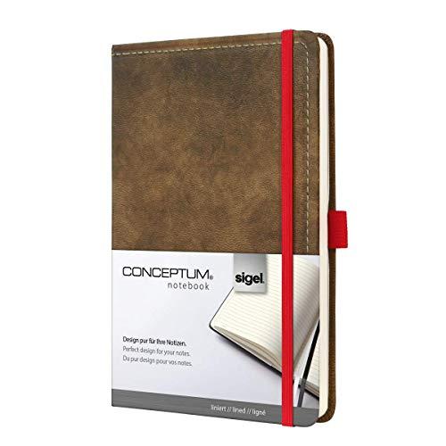 SIGEL CO603 Notizbuch, ca. A5, liniert, Design Vintage, Leder-Look, braun, 194 Seiten, Conceptum - große Auswahl