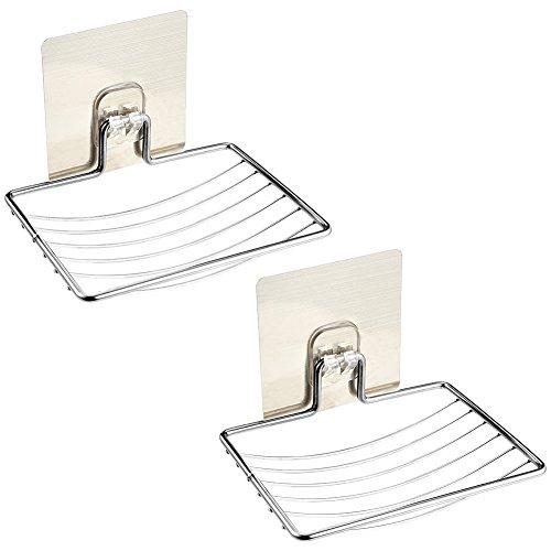 Irich 2 Stück Ohne Bohren Handarbeit Seifenhalter, Edelstahl Seifenschale Scrubber Schwammhalter für Dusche Küche Haushalt Wohnen Badezimmer. Befestigen & Wasserdichte