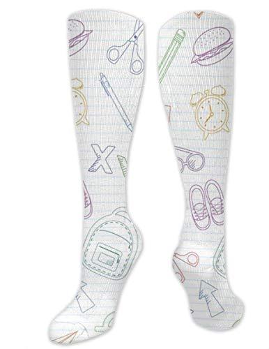 Preisvergleich Produktbild shizh Umriss Schultaschen und Schreibwaren Zufällige Baumwolle Kniestrümpfe Lange Schlauchstrümpfe für Sportgymnastik Yoga Wandern Radfahren
