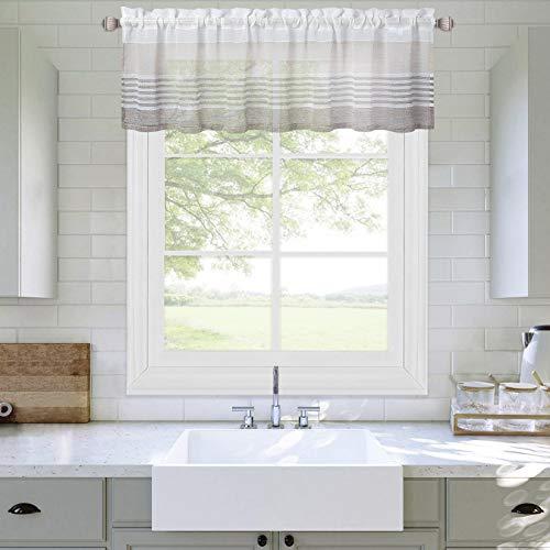 LinTimes Visillo corto, cortina pequeña de gasa para cocina o baño, 137 x 37 cm, marrón