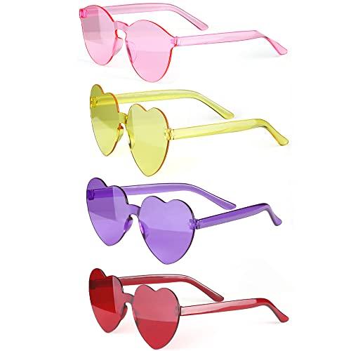 Haichen herzförmige Sonnenbrille Vintage Cat Eye Mod Stil Party Sonnenbrille Retro Transparent randlose Brille für Frauen und Mädchen (C)