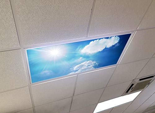 Sunny Day Sky - 2ft x 4ft Drop Ceiling Fluorescent Decorative Ceiling Light Cover Skylight Film