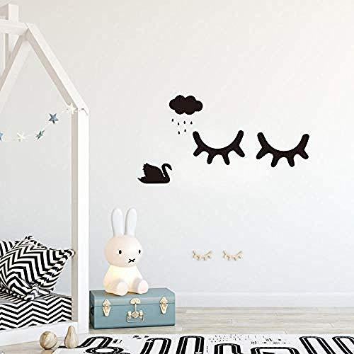 Etiqueta de la pared Estilo de dibujos animados Cute Sleepy Eyelashes Pattern Wall Stickers DIY Kids Living Room Decorating Baby Room Wall Art 58x26cm: Amazon.es: Bebé
