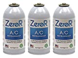 ZeroR Alternative R134_ Refrigerant_ for AC Systems use in a 6-oz Puncture-Style Valve R-134a_ can, (3) cans - Made in USA