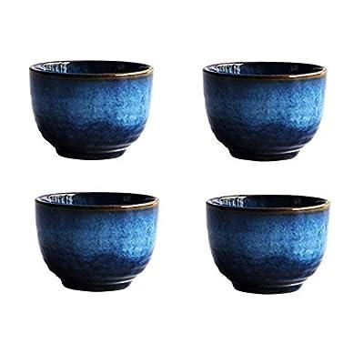 Blue Ceramic Cups Set 5oz, KBNI Pack of 4 Traditional Flambed Glazed Pottery Blue Teacups Handcraft Porcelain Mugs Set