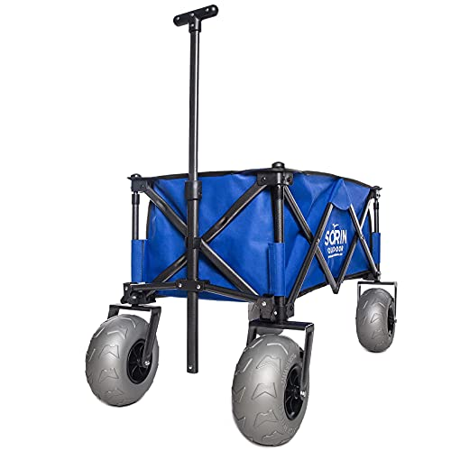 Sorin Outdoor Heavy Duty Collapsible Foldable Beach Cart with Balloon Wheels for Sand Garden Wagon Camping Beach Wagon with Balloon Tires Cart for Beach with Big Wheels Inflatable Tires