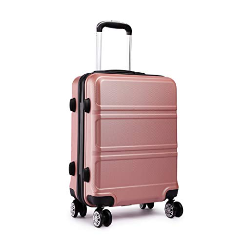 Kono Fashion Hand Luggage Lightweight ABS Hard Shell Trolley Travel Suitcase with 4 Wheels Cabin Carry-on Suitcases (20', Nude)