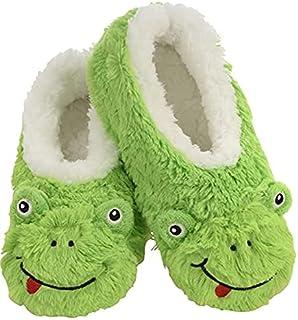Slumbies! Womens Slippers - Indoor Slippers for Women - Comfortable House Slippers for Women - Fuzzy Slippers -Frog
