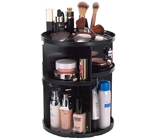 Mitefu Organisateur de Maquillage Rotatif Rond à 360 Degrés Boîtier de Rangement pour Cosmétique en Plastique, Noir