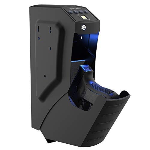 awesafe Gun Safe, Mounted Handgun Safe Quick Access Firearm Safety Device with Fingerprint Biometric, Keypad Password and Key Lock