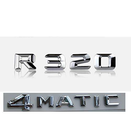 CarWorld Chrome R 320 4 MATIC Car Trunk Rear Words Badge Emblem Letter Decal Sticker,For Mercedes Benz R Class R320 4MATIC