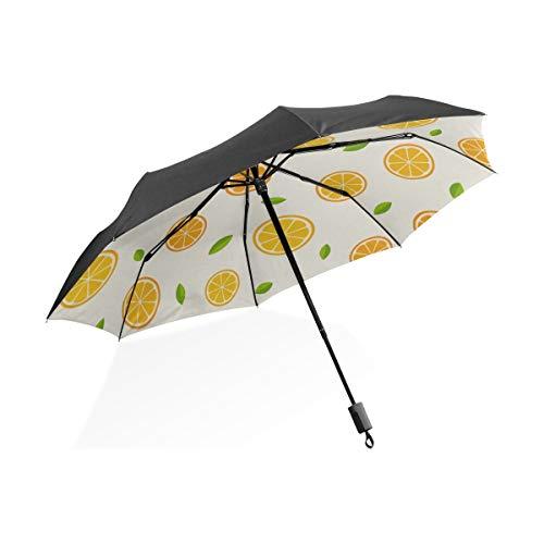 Lluvia Paraguas invertido Limón Naranja Clementina Ramita Frutas Delicioso Invierno Vitamina Diseño Portátil Compacto Paraguas plegable Protección contra rayos UV A prueba de viento Viajes al aire lib
