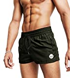 MICOZIFY Men's Gym Workout Shorts, 5' Athletic Running Shorts with Zipper Pockets Army Green