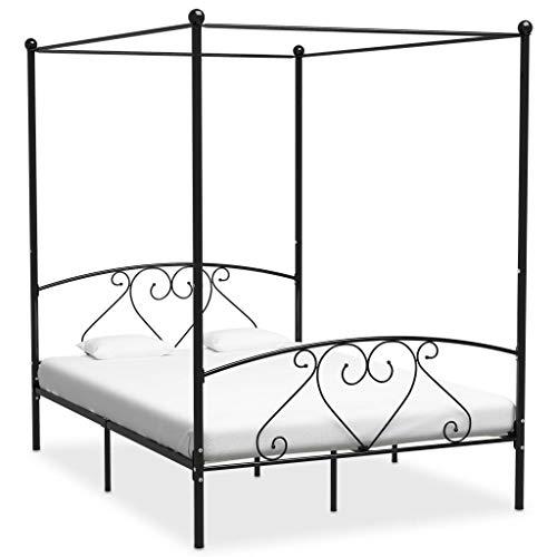 vidaXL Himmelbett Bett Bettgestell Doppelbett Metallbett Bettrahmen Lattenrost Schlafzimmerbett...