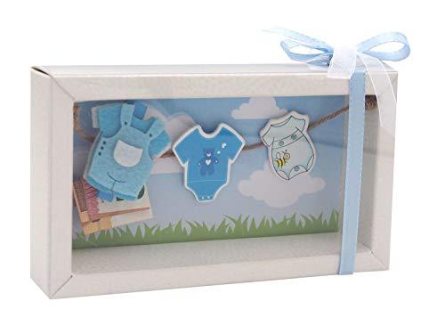 ZauberDeko Geldgeschenk Verpackung Baby Strampler Rosa Blau Geburt Junge Mädchen Taufe Gutschein, Modell:Junge1