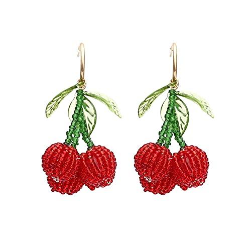 Cuentas de cristal tejidas a mano Pendientes de cereza Pendientes de fruta encantadores