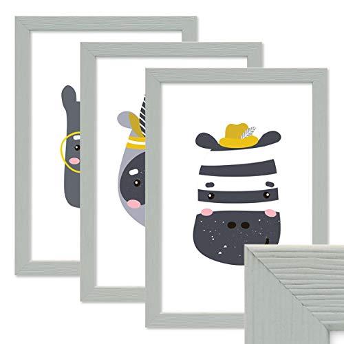 PHOTOLINI 3er Set Bilderrahmen Grau 21x30 cm/DIN A4 Massivholz mit Acrylglasscheibe/Fotorahmen Hellgrau/Wechselrahmen