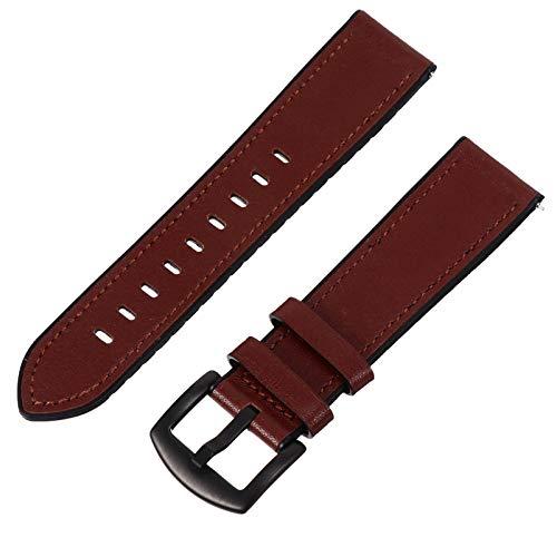 UKCOCO Correas de Reloj de Cuero Genuino Compatibles con Relojes Inteligentes de Edición de Reemplazo de Pulsera Elegantes de Samsung de Color Marrón