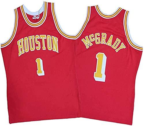 Enid Camiseta de baloncesto Tracy Houston para hombre, Mcgrady Rockets bordados de malla de entrenamiento sin mangas #1 rojo